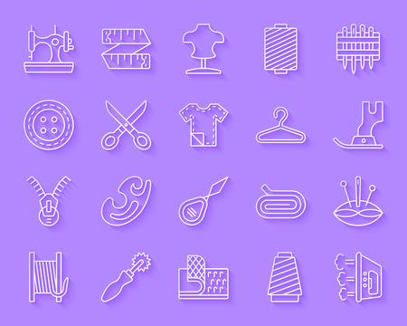 Set di icone di linea arte tagliata carta da cucire. Kit segno web della moda. La raccolta di pittogrammi lineari da ricamo include tessuto, stoffa, manichino. Forma dell'icona intagliata di vettore di cucito semplice. Simbolo di design materiale