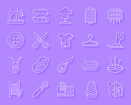 Sewing paper cut art line icons set. Web sign kit of fashion. Embroidery linear pictogram collection includes textile, cloth, dummy. Simple sewing vector carved icon shape. Material design symbol