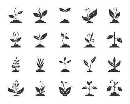 Gras zwarte silhouet pictogrammen instellen. Geïsoleerde monochrome webteken kit van plant. De organische verzameling van spruitpictogrammen omvat bio, eco en de natuur. Eenvoudig grassymbool. Plant Vector Icon vorm voor stempel
