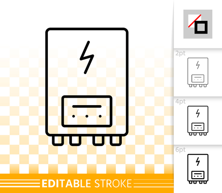Electric water heater thin line icon. Outline sign of boiler. Climate equipment linear pictogram with different stroke width. Simple vector transparent symbol. Heater editable stroke icon without fill
