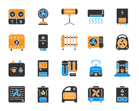 Hvac silhouette icons set. Isolated sign kit of climatic equipment. Fan pictogram collection includes steam generator, air dryer, purifier, boiler. Simple color hvac contour symbol. Vector Icon shape