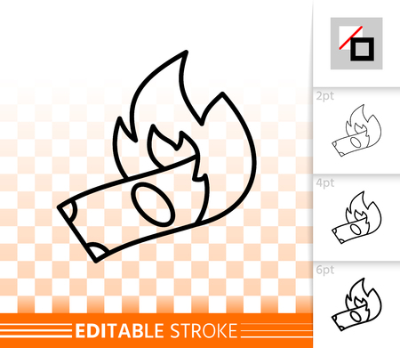 Burning money thin line icon. Outline web sign of note. Fire linear pictogram with different stroke width. Simple vector symbol, transparent background. Burning money editable stroke icon without fill Vettoriali
