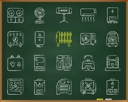 Hvac chalk board icons set. Outline sign kit of climatic equipment. Fan linear icon collection includes hygrometer humidifier convector. Hand drawn simple hvac symbol on blackboard vector Illustration