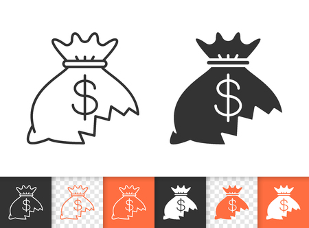 Money lost black linear and silhouette icons. Thin line sign of financial loss. Hole in moneybag outline pictogram isolated on white, transparent. Vector Icon shape. Money lose simple symbol closeup 写真素材 - 106952734