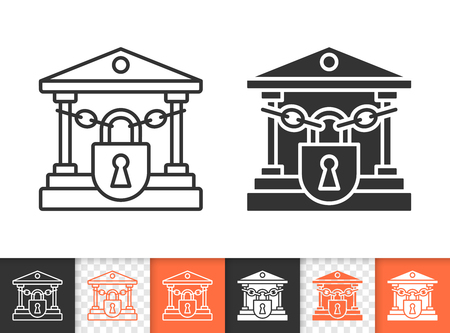 Closed bank black linear and silhouette icons. Thin line sign of crash. Bankrupt outline pictogram isolated on white, color, transparent background. Vector Icon shape. Crisis simple symbol closeup