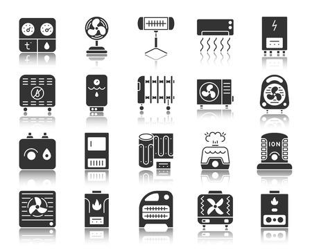 Set di icone di sagoma HVAC. Kit segno web monocromatico di attrezzature climatiche. La raccolta di pittogrammi dei fan include raffreddamento, pulizia, convettore. Simbolo di vettore semplice nero. Icona di forma HVAC con riflessione