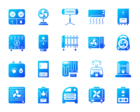 Hvac silhouette icons set. Isolated on white sign kit of climatic equipment. Fan pictogram collection includes blower heating, ionizer, humidifier. Simple contour symbol. Hvac vector icon shape