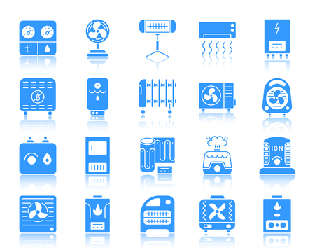 Hvac silhouette icons set. Sign kit of climatic equipment. Fan pictogram collection includes convector, oil cooler, heat floor. Simple hvac contour symbol with reflection. Vector Icon shape isolated