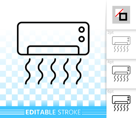 Air conditioner thin line icon. Outline sign of split system. Cooling linear pictogram with different stroke width. Simple vector symbol on transparent. Conditioner editable stroke icon without fill