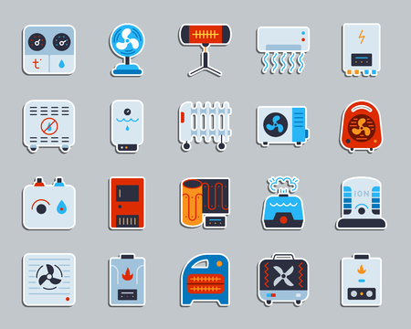 Hvac sticker icons set. Flat sign kit of climatic equipment. Fan pictogram collection includes blower heating, ionizer, humidifier. Simple hvac symbol. Icon for patch, badge, pin. Vector Illustration Vetores