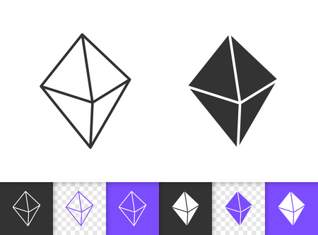 Diamond crystal black linear and silhouette icons. Thin line sign of gem. Mineral outline pictogram isolated on white, violet transparent background. Vector Icon shape. Crystal simple symbol closeup Ilustração