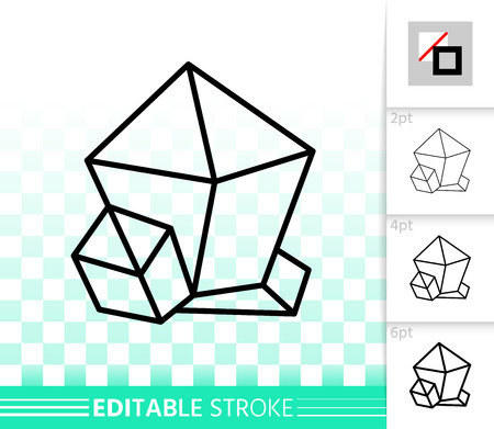 Crystal thin line icon. Outline sign of gemstone. Mineral linear pictogram with different stroke width. Simple vector symbol, transparent background. Emerald crystal editable stroke icon without fill