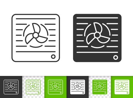 Vent black linear and silhouette icons. Thin line sign of duct. Ventilator outline pictogram isolated on white, green, transparent background. Vector Icon shape. Conditioner simple symbol closeup Vettoriali