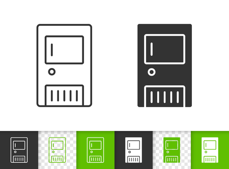 Solid fuel boiler black linear and silhouette icons. Thin line sign of heating. Water heater outline pictogram isolated on white transparent background. Vector Icon shape. Boiler simple symbol closeup 일러스트
