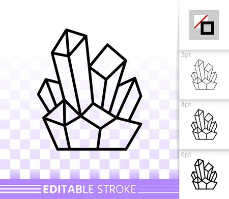 Amethyst crystal thin line icon. Outline sign of gem. Mineral linear pictogram with different stroke width. Simple vector symbol transparent background quartz crystal editable stroke icon without fill