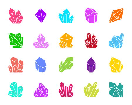 Ruby Crystal glyph icons set. Isolated sign kit of gem. Mineral pictogram collection includes amethyst, sapphire, topaz, diamond, quartz, ice, salt. Simple emerald crystal symbol. Vector Icon shape