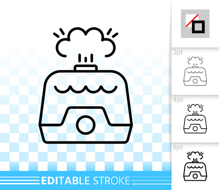 Air humidifier thin line icon. Outline sign of humidification. Humidity linear pictogram with different stroke width. Simple vector symbol on transparent. Humidifier editable stroke icon without fill