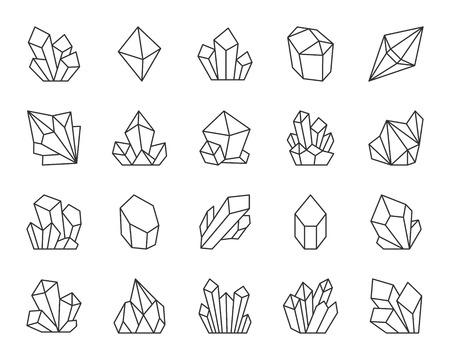 Insieme dell'icona di sottile linea di cristallo di quarzo gioiello. Segno di contorno della gemma del tesoro. Le icone lineari minerali includono rubino, topazio zaffiro, smeraldo. Semplice simbolo di cristallo ametista isolato. Illustrazione vettoriale di diamante