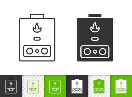 Gas boiler black linear and silhouette icons. Thin line sign of heaning. Water heater outline pictogram isolated on white green transparent backdrop. Vector Icon shape Gas boiler simple symbol closeup Ilustracje wektorowe