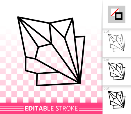 Crystal thin line icon. Outline web sign of gemstone. Mineral linear pictogram with different stroke width. Simple vector symbol, transparent background. Ruby Crystal editable stroke icon without fill Archivio Fotografico - 107006983