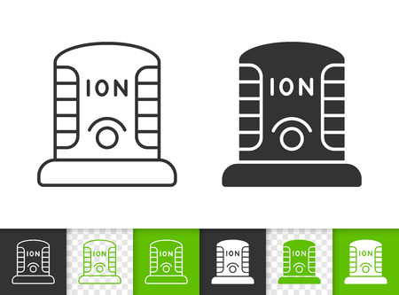 Ionizer black linear and silhouette icons. Thin line sign of ionizator. Ozonator outline pictogram isolated on white, color, transparent background. Vector Icon shape. Ionizer simple symbol closeup