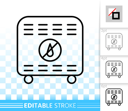 Dehumidifier thin line icon. Outline sign of air dryer. Desiccant linear pictogram with different stroke width. Simple vector symbol transparent backdrop Dehumidifier editable stroke icon without fill Illustration