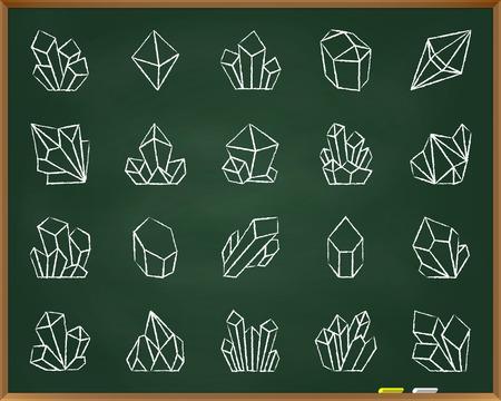 Crystal krijt pictogrammen instellen. Outline sign kit van edelsteen. Minerale lineaire icooncollectie omvat juweel, schat, kwarts. Hand getekend door pastel kleurpotlood eenvoudig kristal symbool op schoolbord vector illustratie