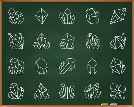 Crystal chalk icons set. Outline sign kit of gem. Mineral linear icon collection includes jewel, treasure, quartz. Hand drawn by pastel crayon simple crystal symbol on chalkboard vector Illustration