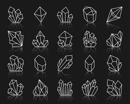Diamond crystal thin line icon set. Outline sign kit of gem.