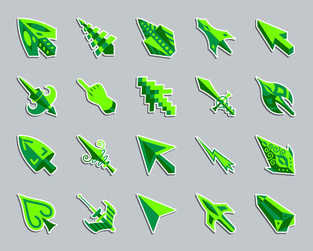 Mouse cursor sticker icons set. Flat sign kit of arrow.