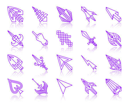 Mouse cursor thin line icons set. Outline vector sign kit of arrow.