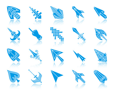 Mouse cursor silhouette icons set. Sign kit of arrow.