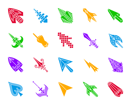Mouse cursor silhouette icons set. Isolated web sign kit of arrow.