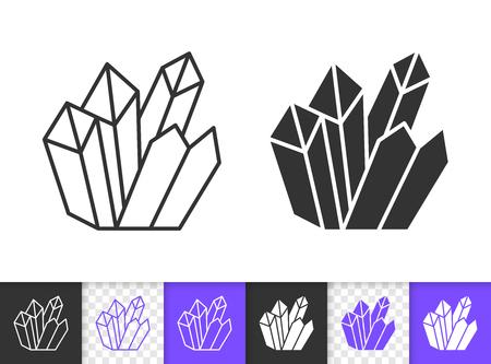 Icônes linéaires et silhouette diamant cristal noir. Signe de fine ligne de gemme.