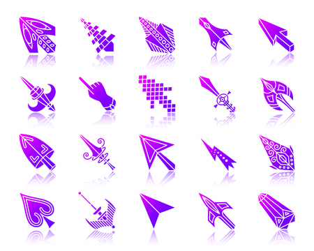 Mouse Cursor silhouette icons set with reflection. Illustration
