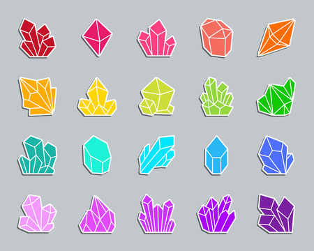 Crystal silhouette sticker icons set. Sign kit of gem.