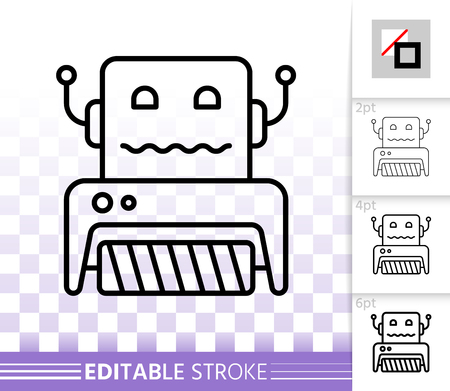 Household Robot thin line icon. Outline sign of toy. Transformer linear pictogram with different stroke width.