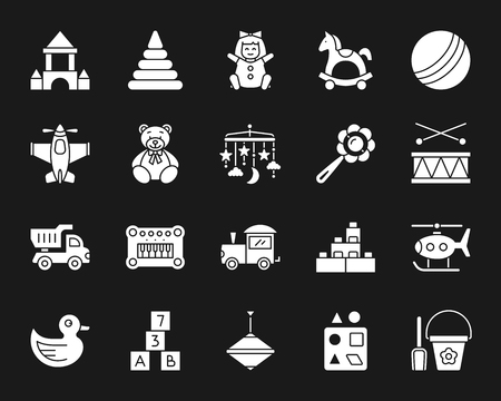 Baby toys silhouette icons set. Isolated web sign kit of children play. Illustration