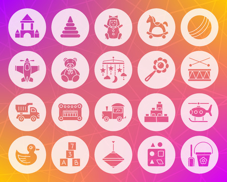 Baby toy icons set. Web sign kit of children play.