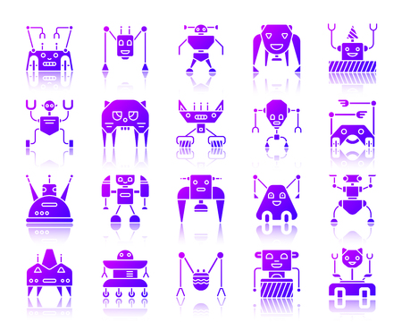 Robot silhouette icons set with reflection. Color web sign kit of character.