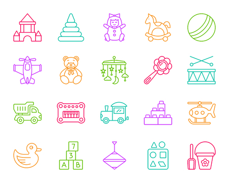 Baby toys thin line icons set. Outline sign kit of children play. Illusztráció
