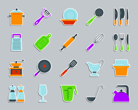 Kitchenware sticker icons set. Flat sign kit of cookware.