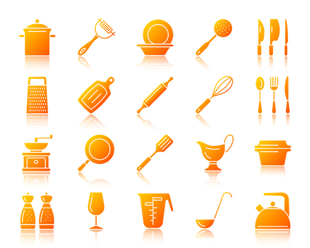Kitchenware silhouette icons set with reflection.