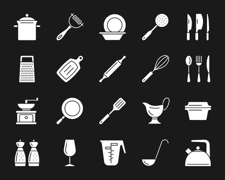 Kitchenware silhouette icons set. Isolated sign kit of cookware. Illustration