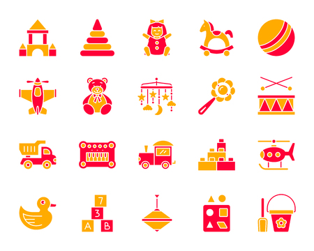 Baby toy silhouette icons set. Isolated on white sign kit of children play.