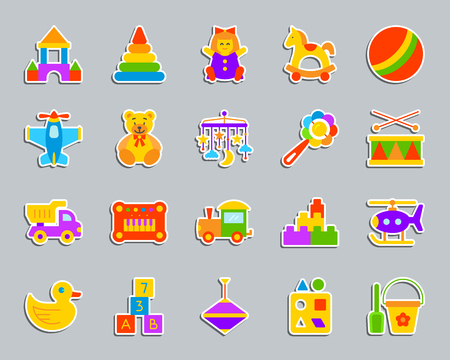 Baby toy sticker icons set. Flat sign kit of children play. Vectores