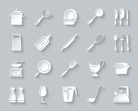 Kitchenware paper cut art icons set. Sign kit of cookware.
