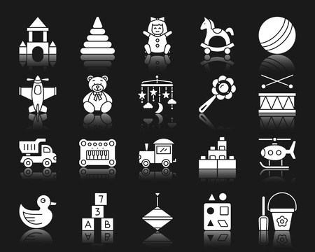 Baby toy silhouette icons set. Isolated sign kit of children play. Illustration