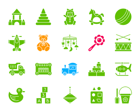 Baby toy silhouette icons set. Isolated web sign kit of children play.