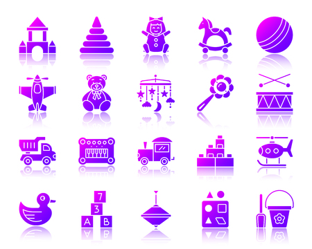 Baby toy silhouette icons set with reflection. Violet sign kit of children play. Illustration
